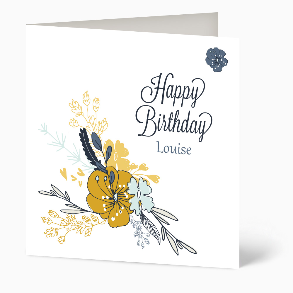 Blue And Yellow Flower Birthday Card