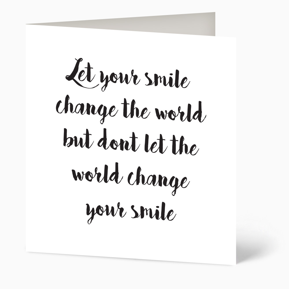 Let Your Smile Quote Card Personalised Cards From Beautiful Occasions