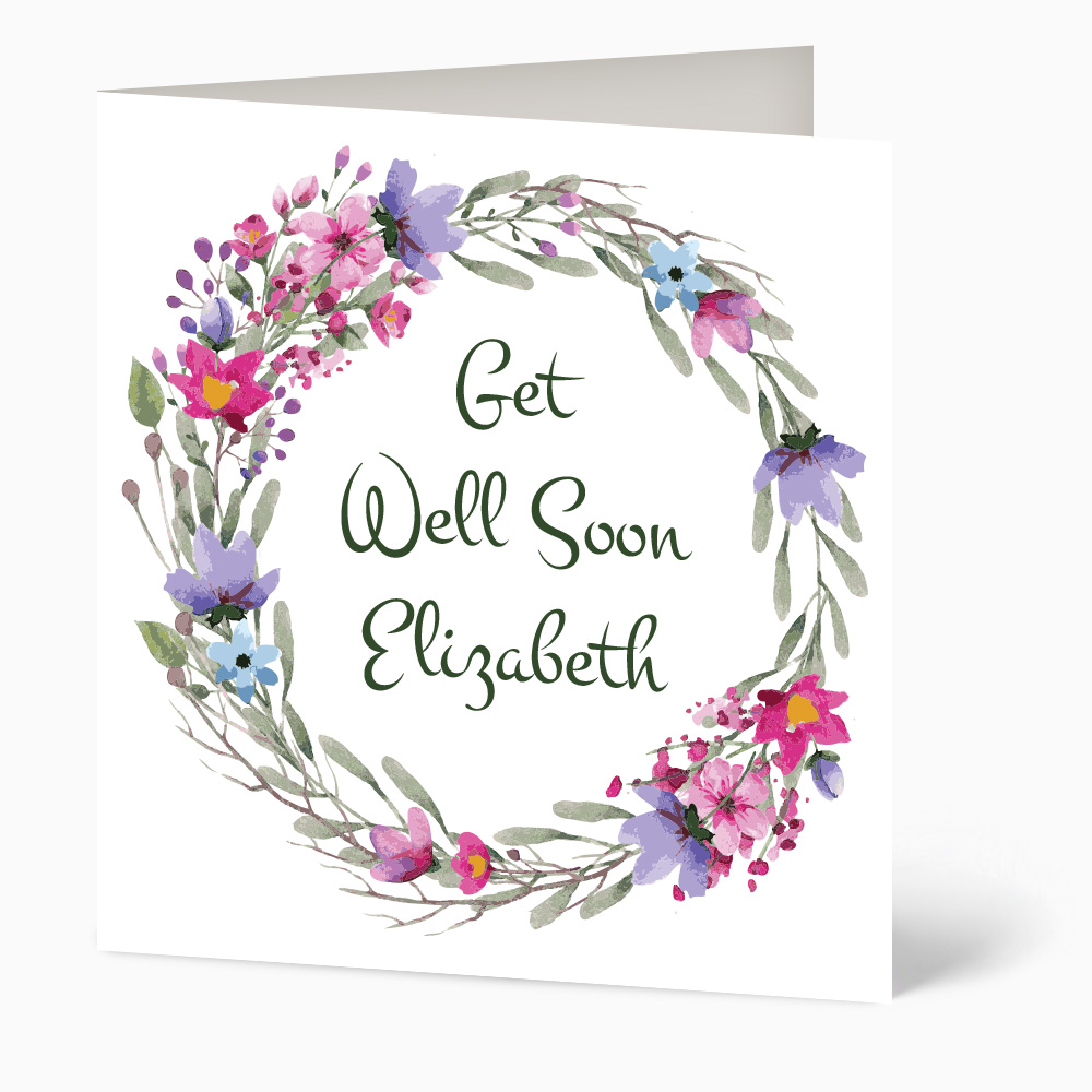 Watercolour Wreath Of Flowers Get Well Soon Card